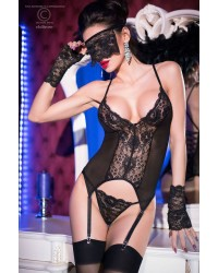 Bustier with Gloves, Vail and Thong Black
