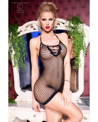 Fishnet Mini Dress Seamless with Open Back Black