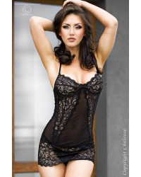 Lace Babydoll With Braided Back in Black