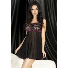 Babydoll Tulle Black with Fuchsia bust accent