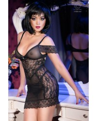 Lace Chemise with straps & Off Shoulder Accent
