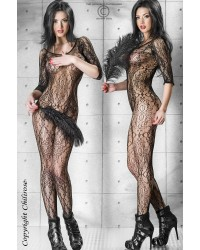 Floral Bodystocking In Black