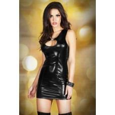 Wetlook Dress With Decorative Buckles